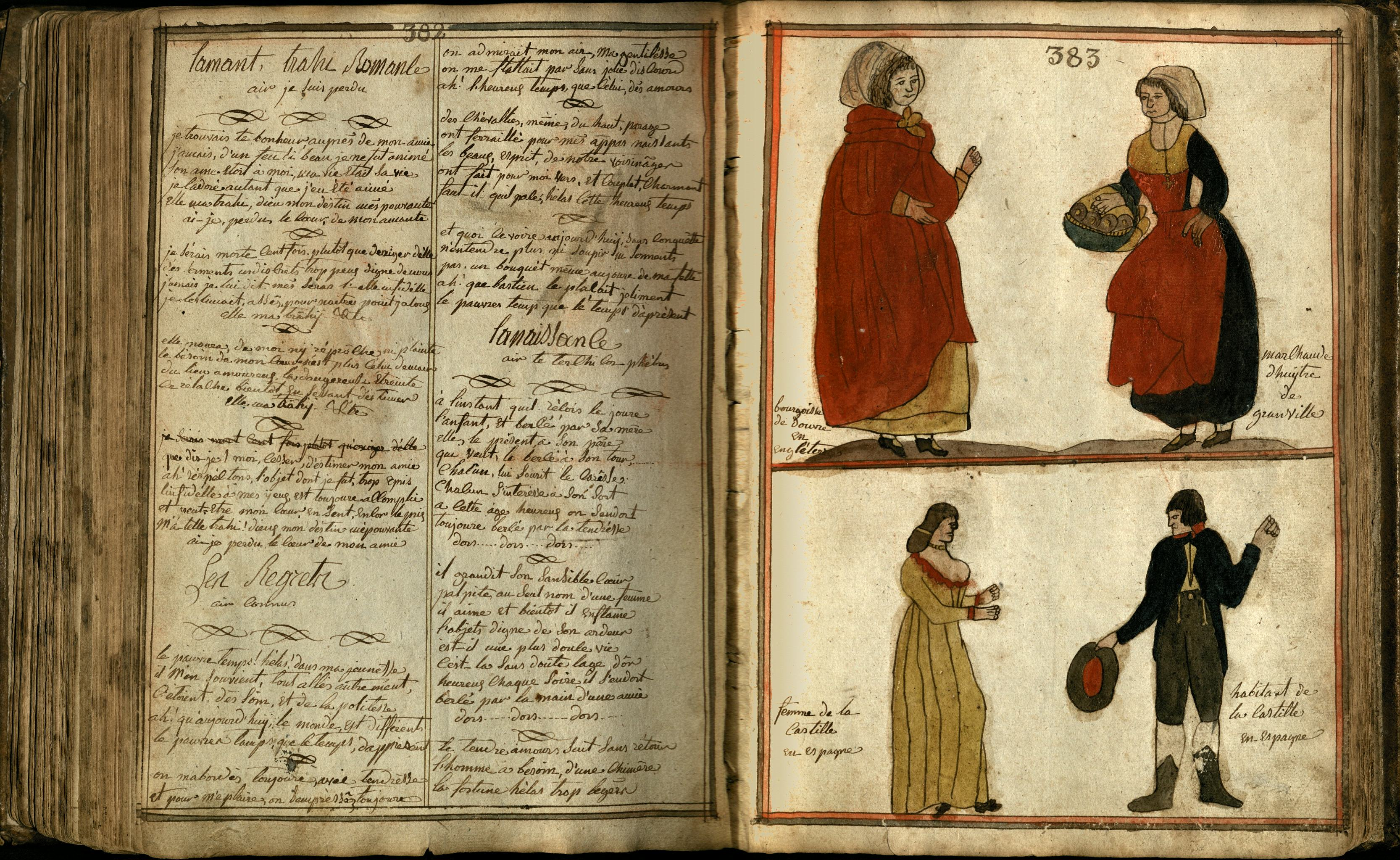 Livre de Raison p. 382-383: French folk songs, and illustrations representing a townswoman from Dover and an oyster seller from Granville (top), and a couple from Castile, Spain (bottom)
